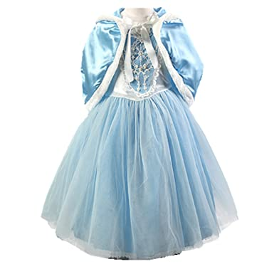 Baiduduozi Flower Princess Girls Cape Fancy Dress Xmas Halloween Cosplay Costume Party Outfit (Blue,
