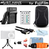 Must Have Accessory Kit For Fuji Fujifilm FinePix XP70 XP80, XP90, XP120 Waterproof Digital Camera Includes Extended Replacement NP-45A, NP-45s Battery + Ac/Dc Charger + Micro HDMI Cable + Case + More