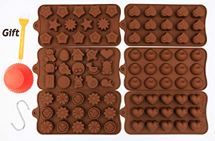 PONECA Silicone Candy Molds Chocolate Molds 6 Pack Silicone Molds For Fat Bombs Chocolate Molds Silicon