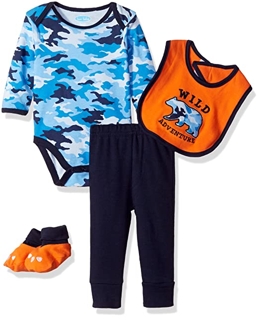 fcc4d376756 Bon Bebe Baby Boys' 4 Piece Pant Set with Bib Bodysuit and Booties, Blue