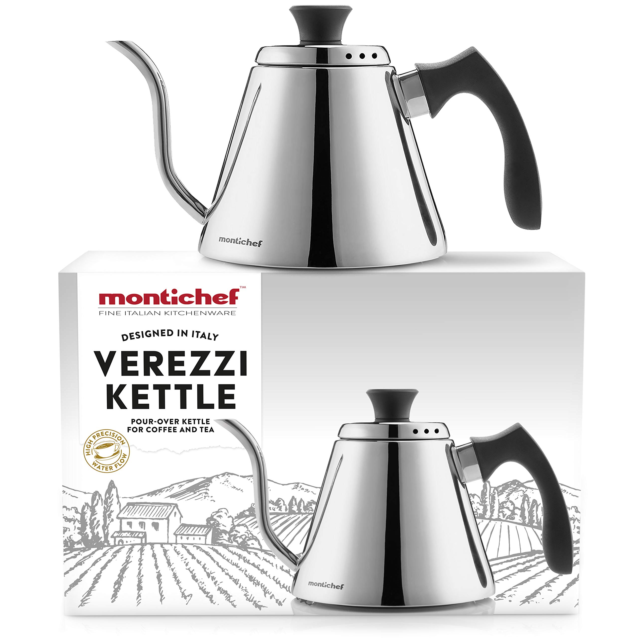 Montichef Verezzi Pour Over Gooseneck Drip Kettle for Coffee and Tea - Italian Design 1l Stainless Steel Stovetop Hand Brewer Pot - High Precision Spout Water Flow and Increased Temperature Stability by Montichef