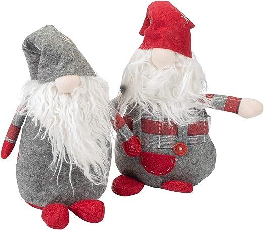 Transpac Imports Inc Santa Gnome Shelf Sitter Red 25 x 8 Plush Christmas Holiday Figurines Set of 2