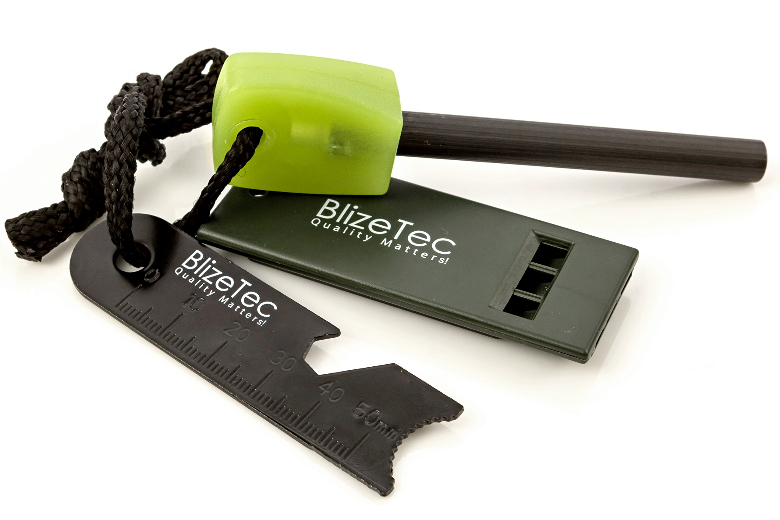 BlizeTec Fire Starter: Best 6-in-1 Magnesium Emergency Fire Starter With Luminous Green Handle, Mini Ruler, Bottle Opener, Serrated Edge and Rescue Whistle; Last Up To 12,000 Strike