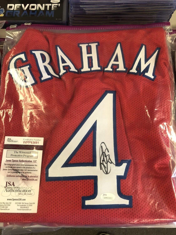 Devonte Graham Autographed Signed Custom XL Red Kansas Jersey Memorabilia JSA Witness