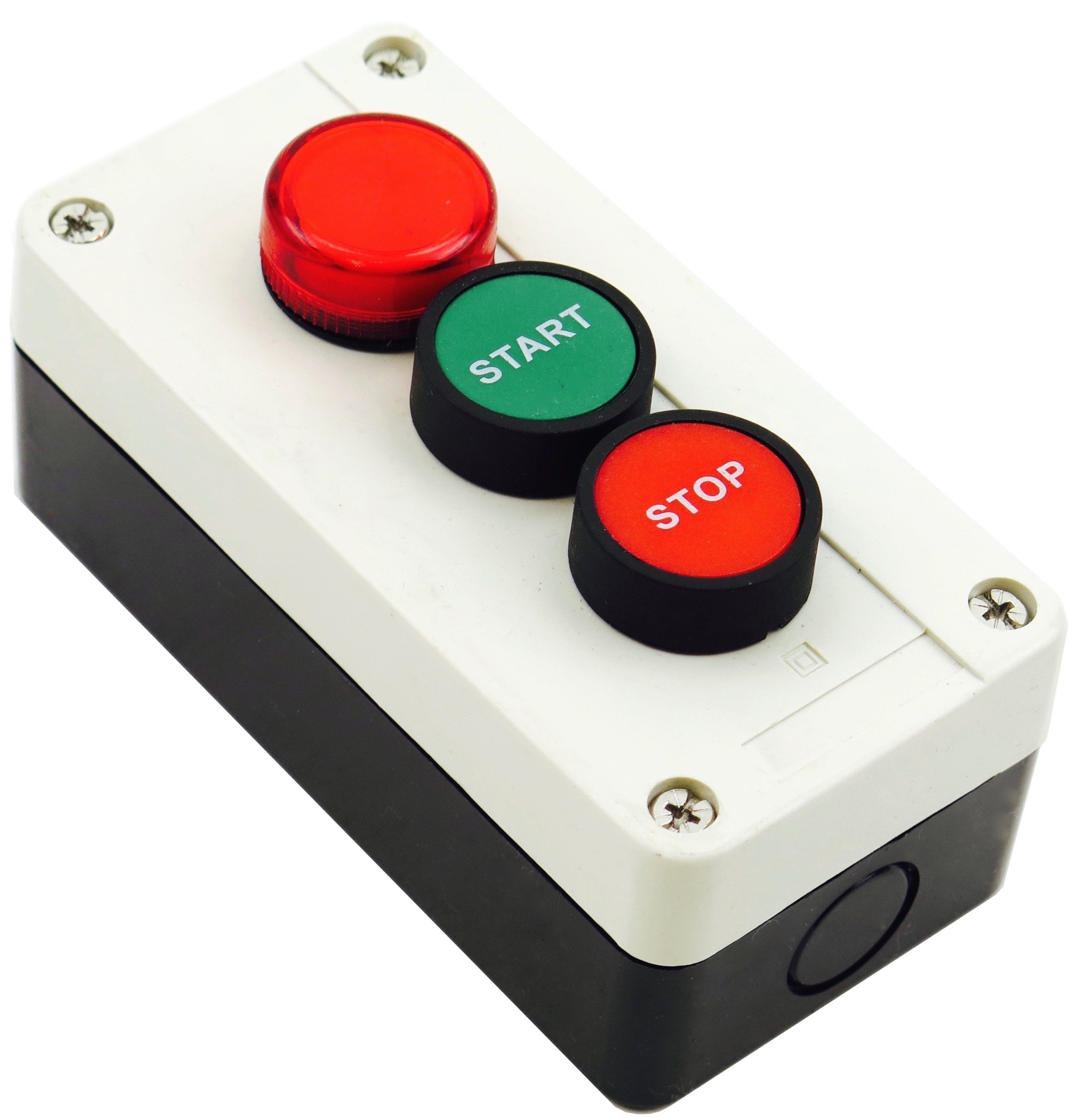 Yuco YC-MOMPLI-E3GR-3 New Pushbutton Momentary Start Stop Station Control with Red Indicator Pilot Light 220V AC