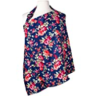 Nursing Cover with Sewn In Burp Cloth for Breastfeeding Infants   FREE Matching Pouch- Best Apron Cover Up for Breast Feeding Babies   Covers Up Newborns in Public   Patented- Vintage Navy Floral