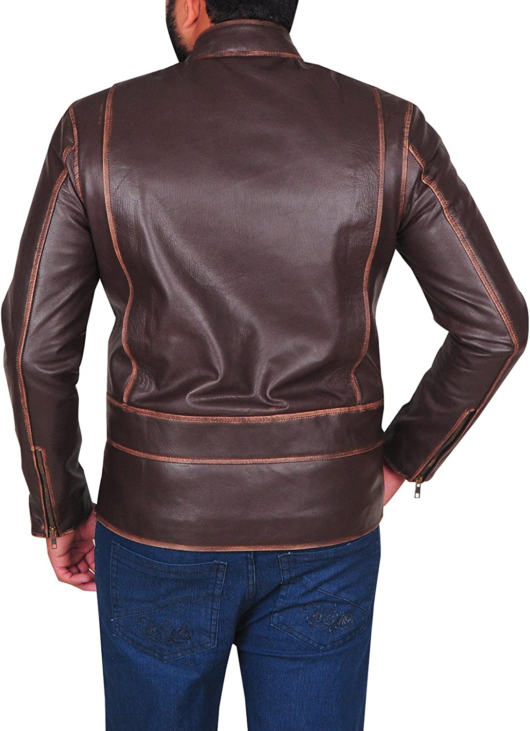 Top Leather Jackets Mens Brown Slimfit Genuine Lambskin Rubbuff Leather Jacket