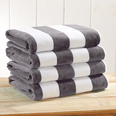 Great Bay Home 4-Pack 100% Cotton Plush Cabana Stripe Velour Beach Towel (30x60). By Brand. (Charcoal Grey)