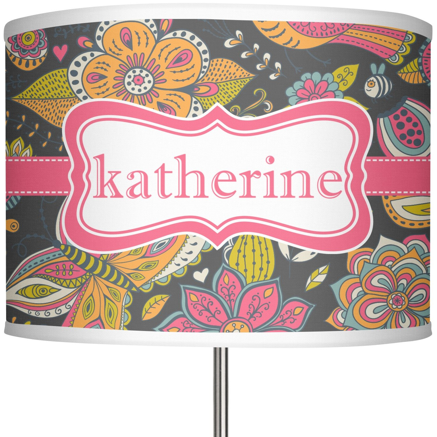 RNK Shops Birds & Butterflies 13'' Drum Lamp Shade Polyester (Personalized)