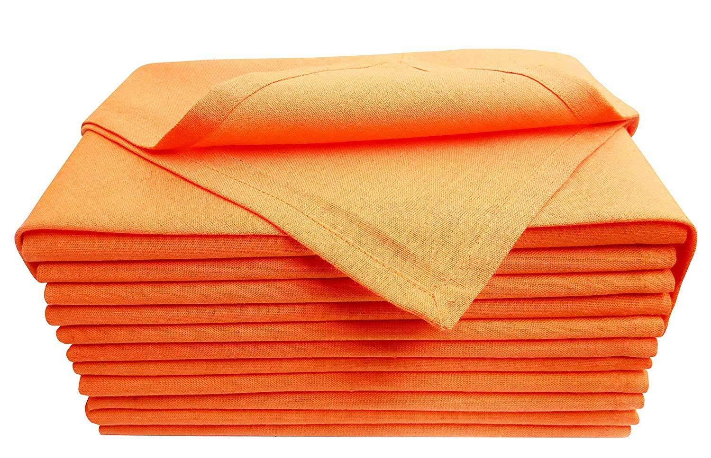 Cloth dinner Napkins-Flax Cotton Fabric- Orange color, Measuring 19x19, Wedding Napkins,Cocktails Napkins,Dinner Napkins,Decorative Napkins, Mitered Corners, Machine Washable Dinner Napkins Set of 12