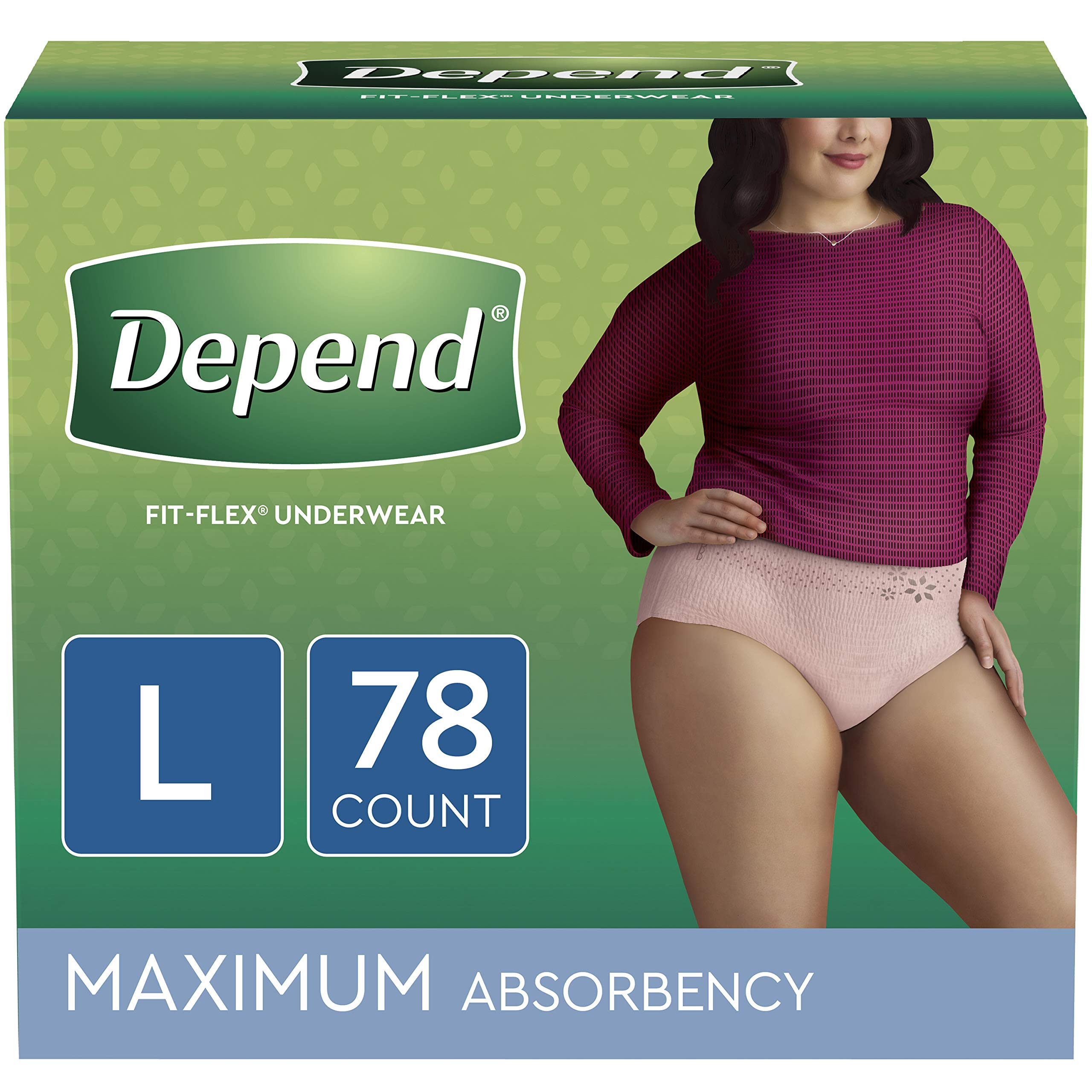 Depend FIT-FLEX Incontinence Underwear for Women, Disposable, Maximum Absorbency, Large, Blush, 78 Count by Depend