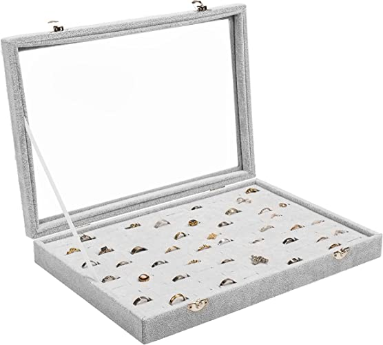 100 Earring Ring Jewllery Display Storage Box Tray Show Case Holder Organizer UK
