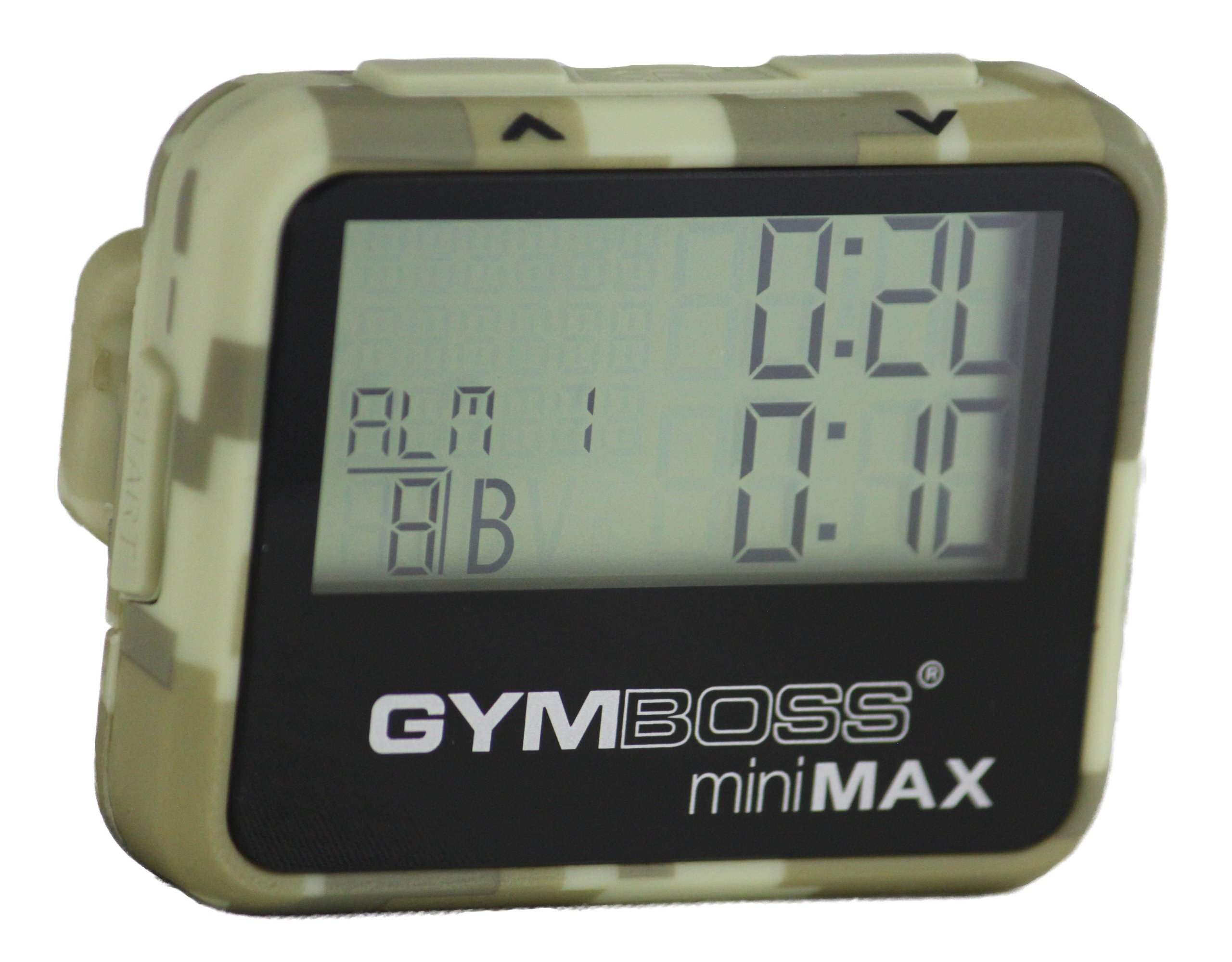 Gymboss miniMAX Interval Timer and Stopwatch - CAMOUFLAGE / TAN SOFTCOAT by Gymboss