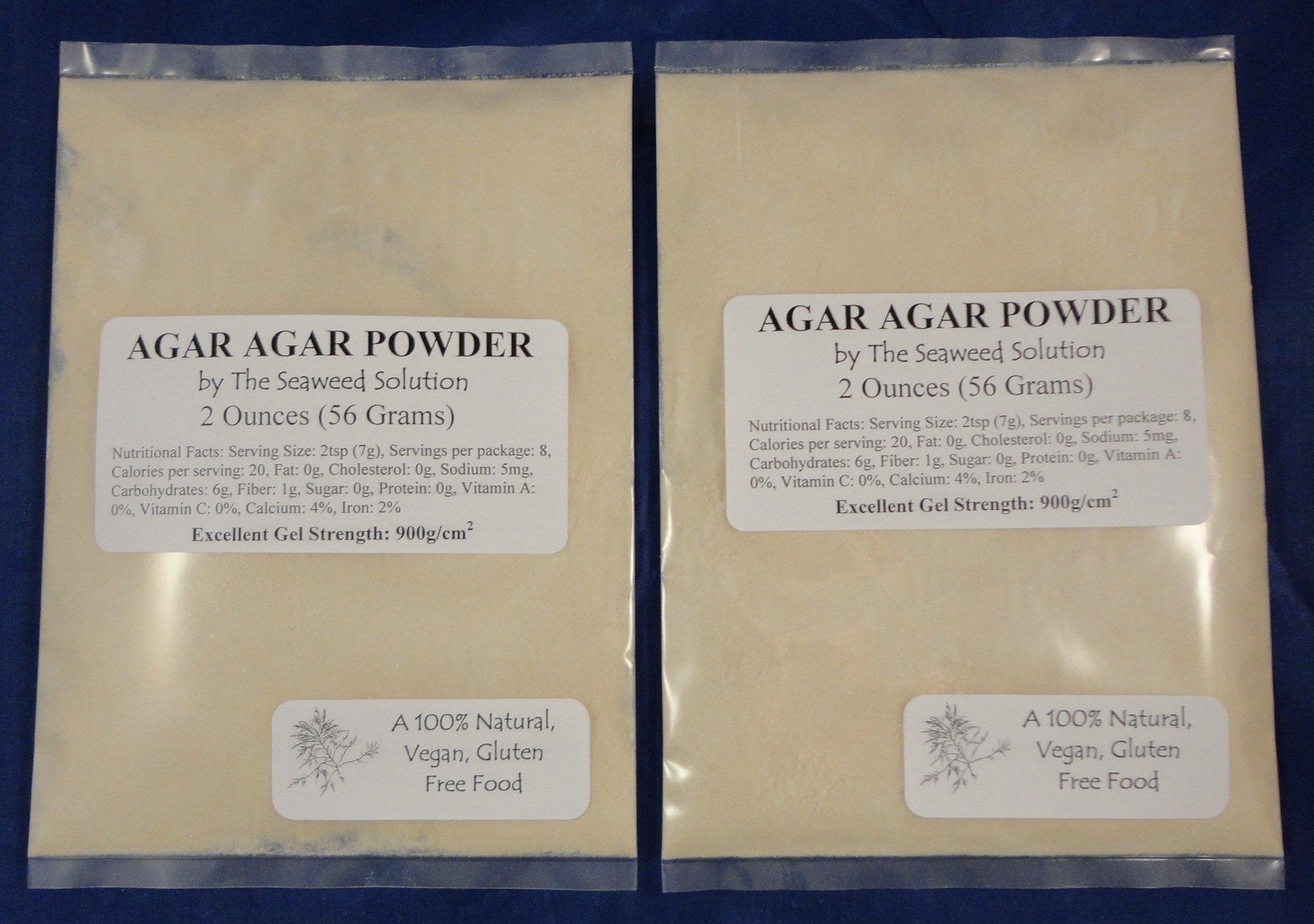 Agar Agar Powder 2oz (2 pack) - Excellent Gel Strength 900g/cm2
