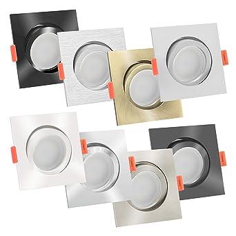 1-10x Dimmbare extra flache 25mm Aluminium LED-Einbaustrahler gebürstet 6W 230V