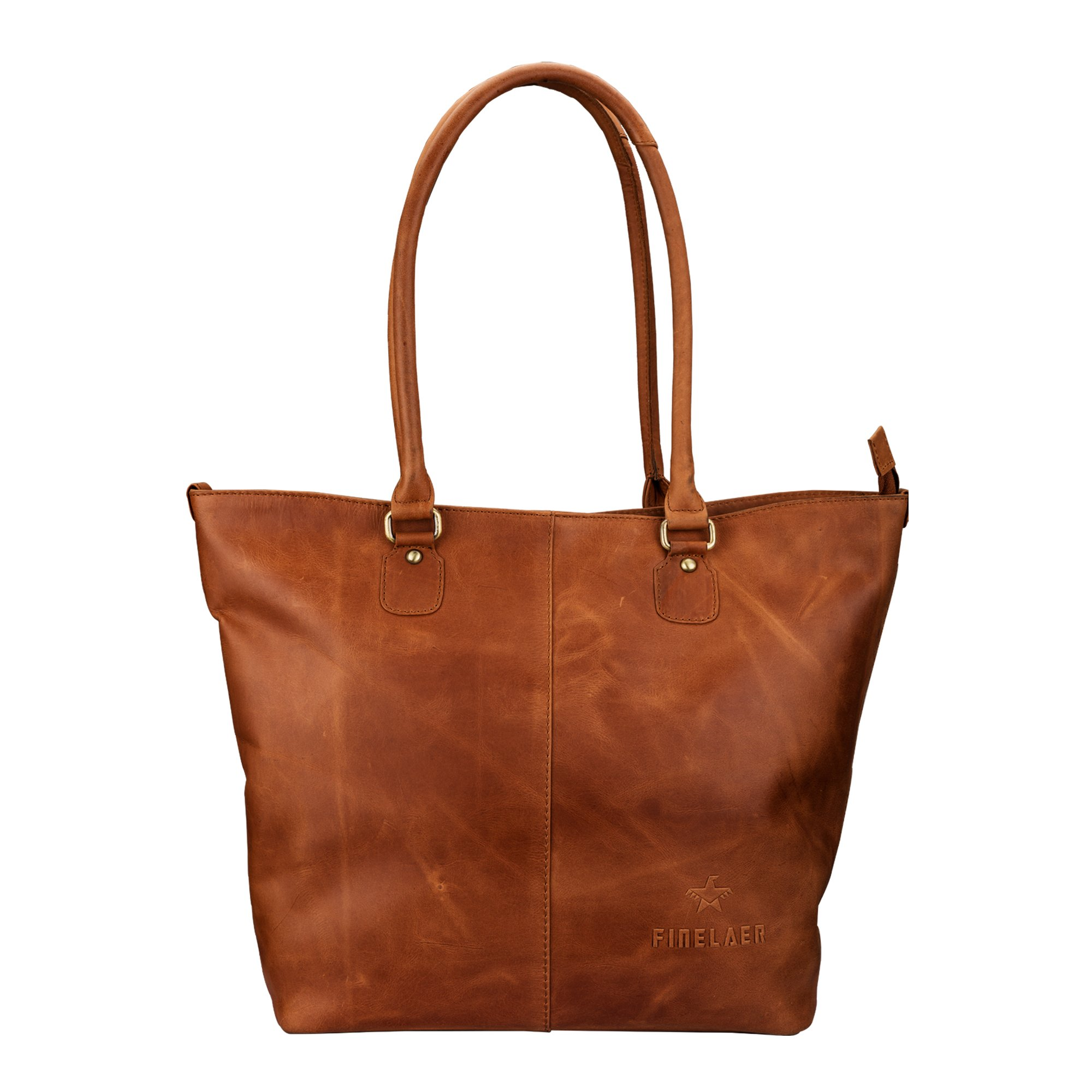 Finelaer Leather Work Tote Shoulder Handbag Purse Organizer for Women with Zipper Brown