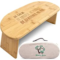 Monk & Llama Kneeling Meditation Bench with Foldable Legs — Perfect Kneeling Stool Ergonomic Bamboo Yoga Bench for Extended Practice - Includes Seiza Cushion, Carrying Bag & Meditation Journal