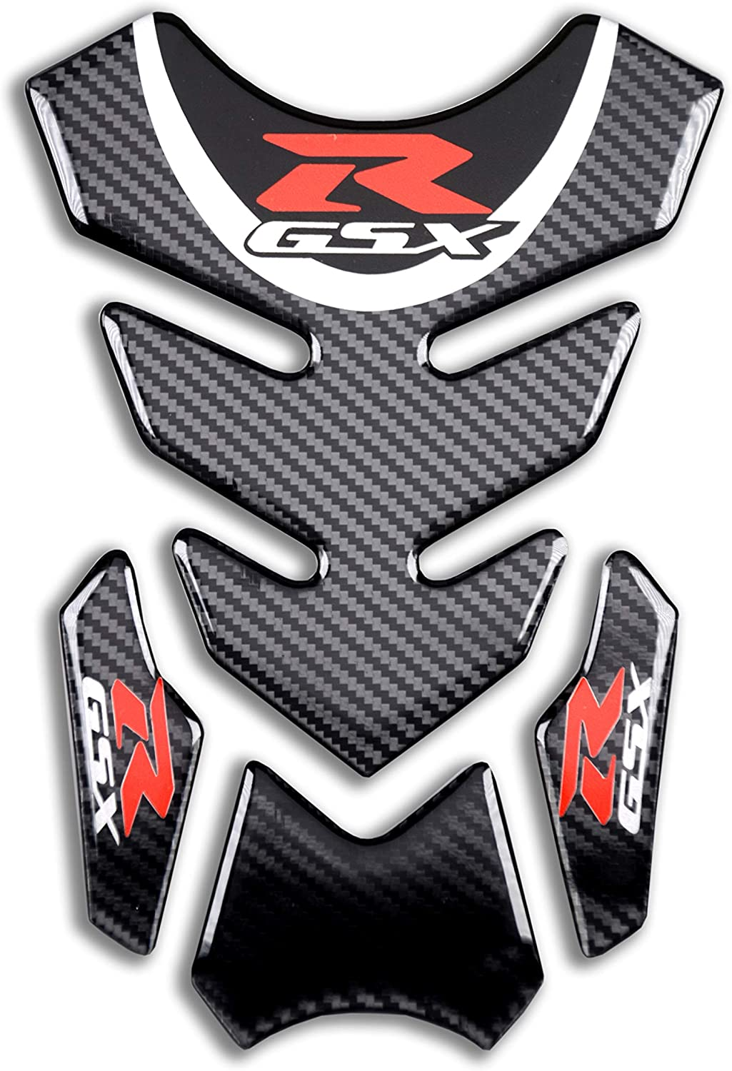 REVSOSTAR Real Carbon Look Motorcycle Reflective Sticker, Vinyl Decal Emblem Protection, Gas Tank Pad for Gixxer GSXR 600 750 2006-2016 / GSXR1000 2007-2008 GSXR1300 Hayabusa 2008-2016