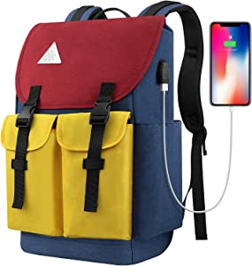 Travel Laptop Backpack, Durable College Students Backpack with USB Charging Port, Water Resistant Drawstring Closure Computer Bag Bookbag for Women Men Fit 15.6 inch Laptop