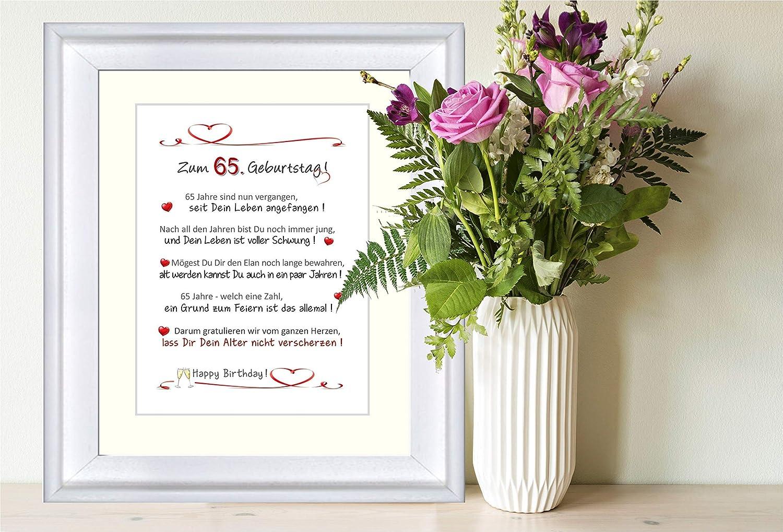 personalisierbarer Kunstdruck als Geschenk zum 65 ohne Rahmen Geburtstag Geburtstag 24 x 30 cm mit Passepartout Herzlichen Gl/ückwunsch zum 65