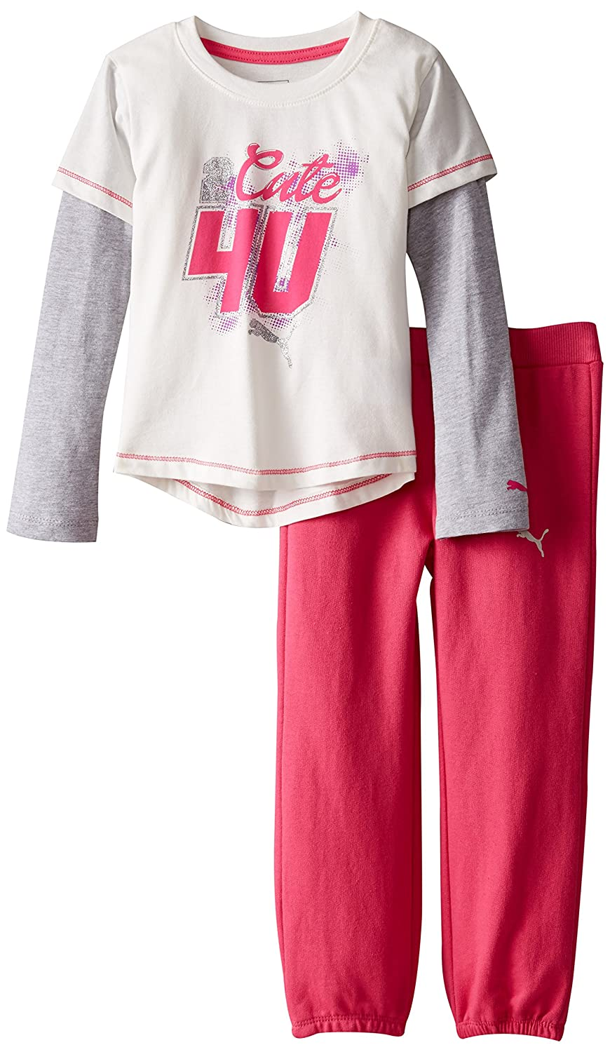 PUMA Girls' Two Piece Twofer Tee and Pant Set PUMA Little Girls 1155119