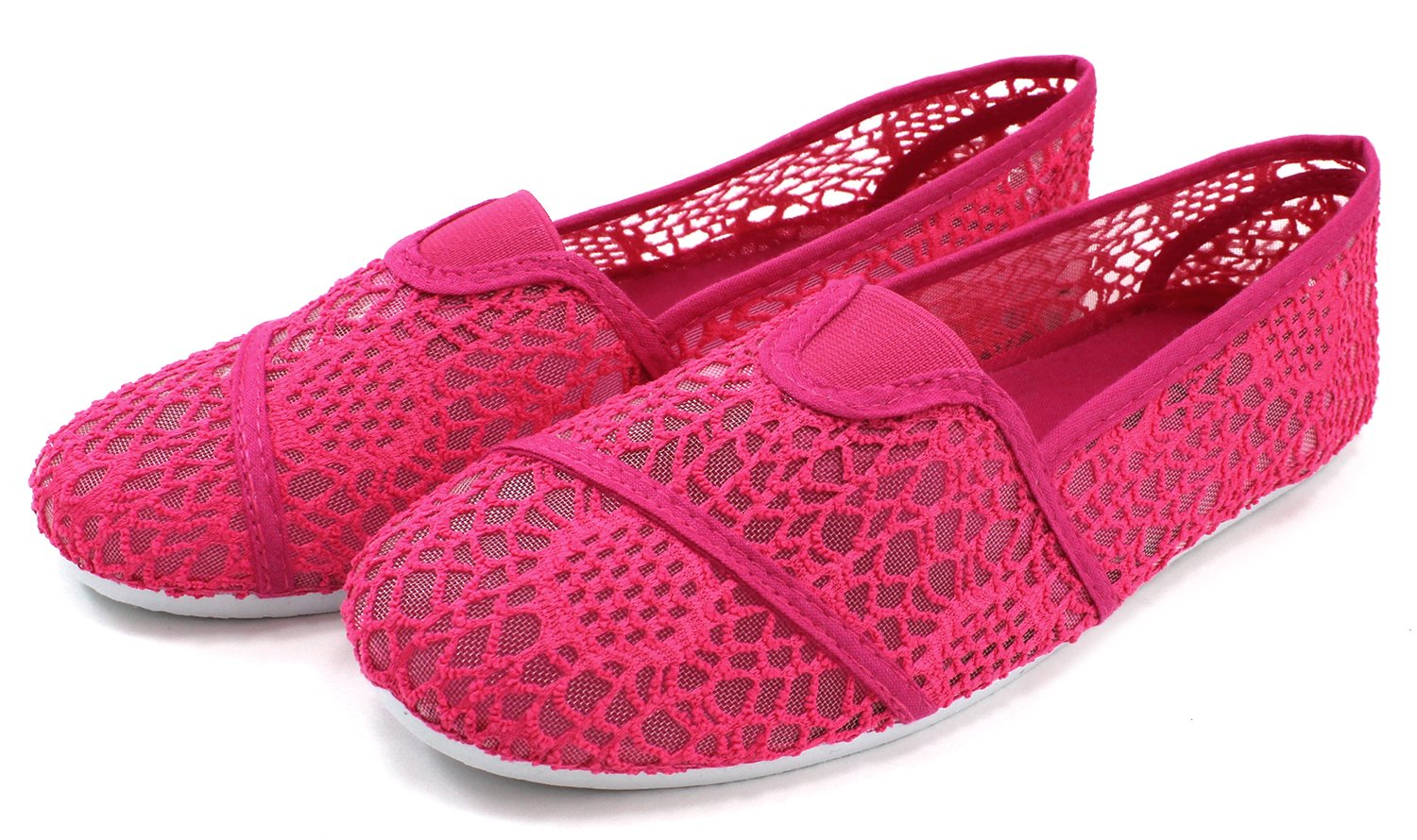 Cammie Women's Canvas Slip On Fashion Shoe Flats Espadrilles B00UCN6POK 9 B(M) US|Mesh Fuchsia