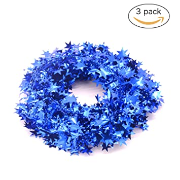 3pcs wire garlandgold starschristmas decorations party accessory25 ft x 3 - Blue And Gold Christmas Decorations
