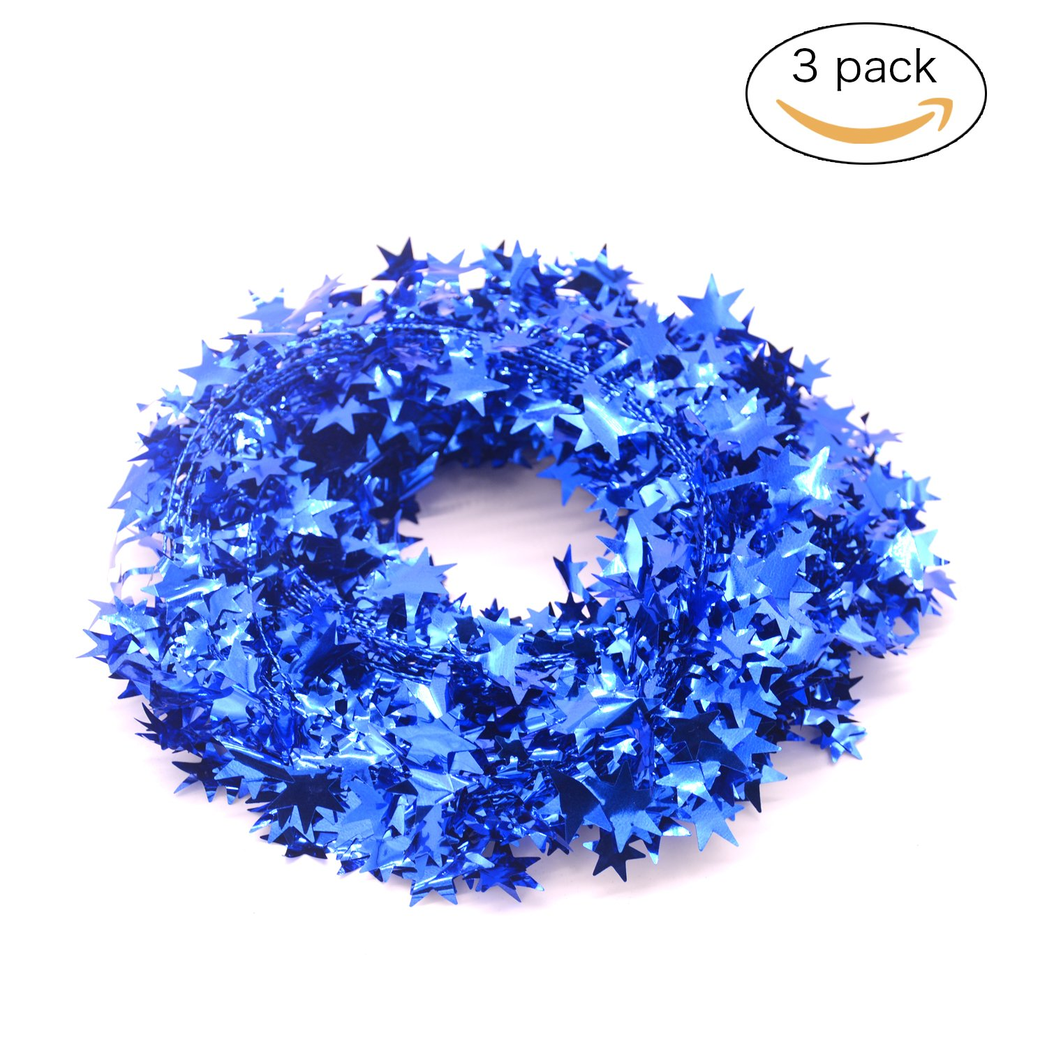 3PCS Wire Garland,Gold Stars,Christmas Decorations Party Accessory,25 Ft x 3 (Navy Blue)