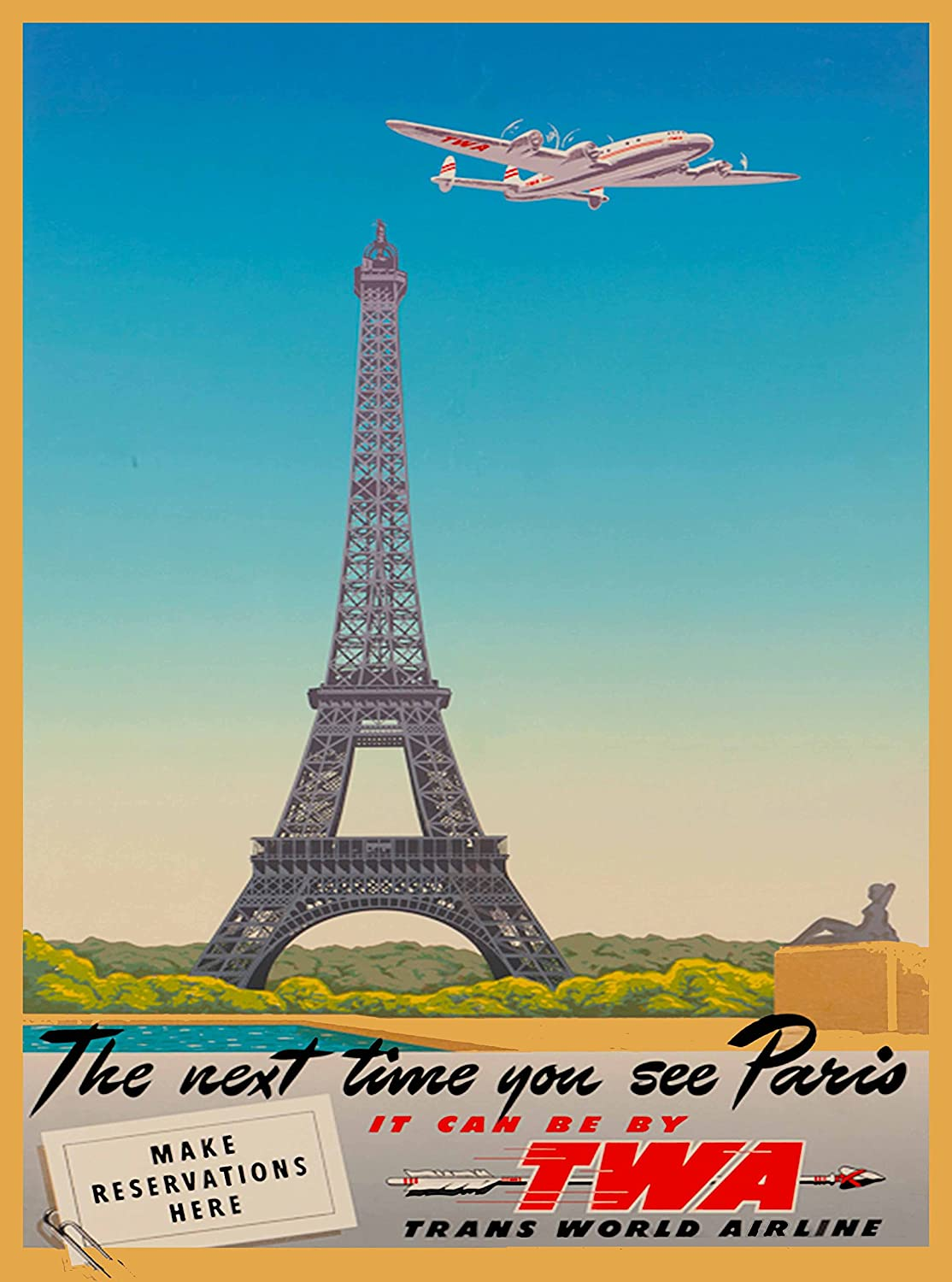 Paris France French Eiffel Tower Airplane Vintage Travel Poster Advertisement