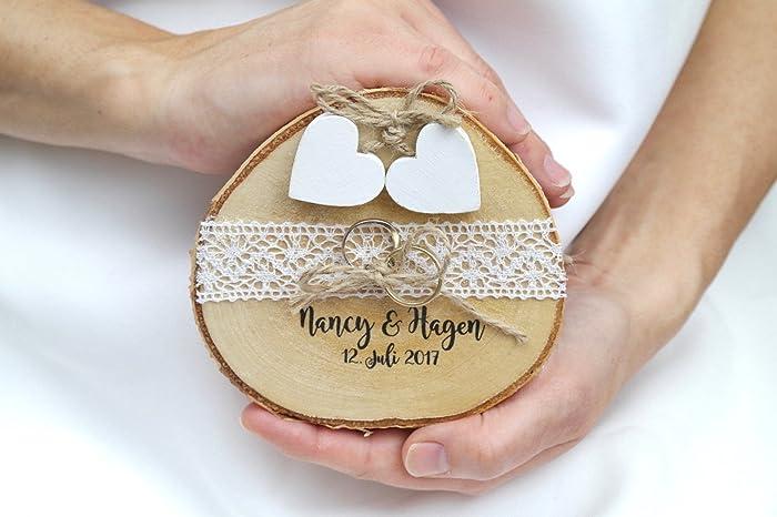 Hochzeitsdeko Rustikal ringkissen mit namen zur hochzeit i ring kissen aus holz i rustikal