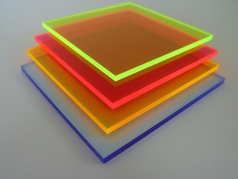 100mm x 400mm x 3mm, orange fluoreszierend in-outdoorshop Plexiglas/® Zuschnitt Acrylglas Platte in unterschiedlichen Farben