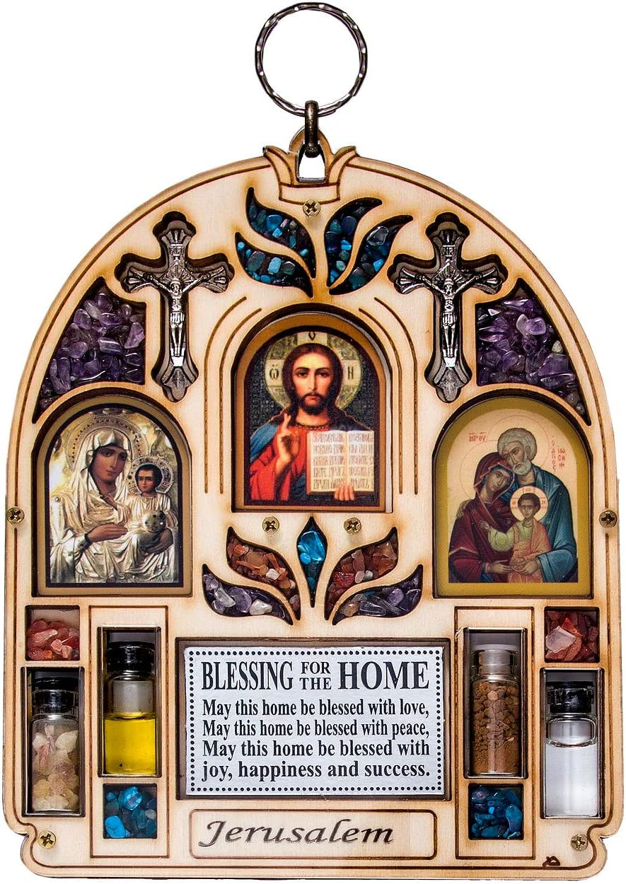 TALISMAN4U Catholic Home Blessing Wall Decor with Semi Precious Stones Holy Water & Soil Jesus Holy Family Jerusalem Virgin Mary Icon