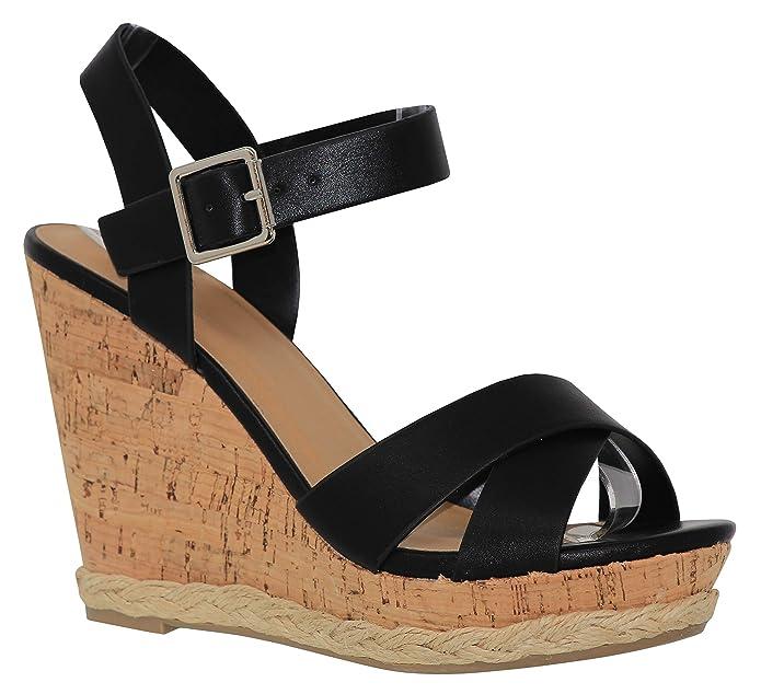 5932e9f438c Amazon.com   MVE Shoes Women's Comfortable Open Toe Adjustable Ankle ...
