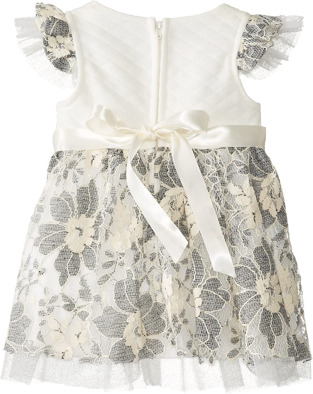 Bonnie Baby Girls Quilted Knit To Embroidered Lace Dress