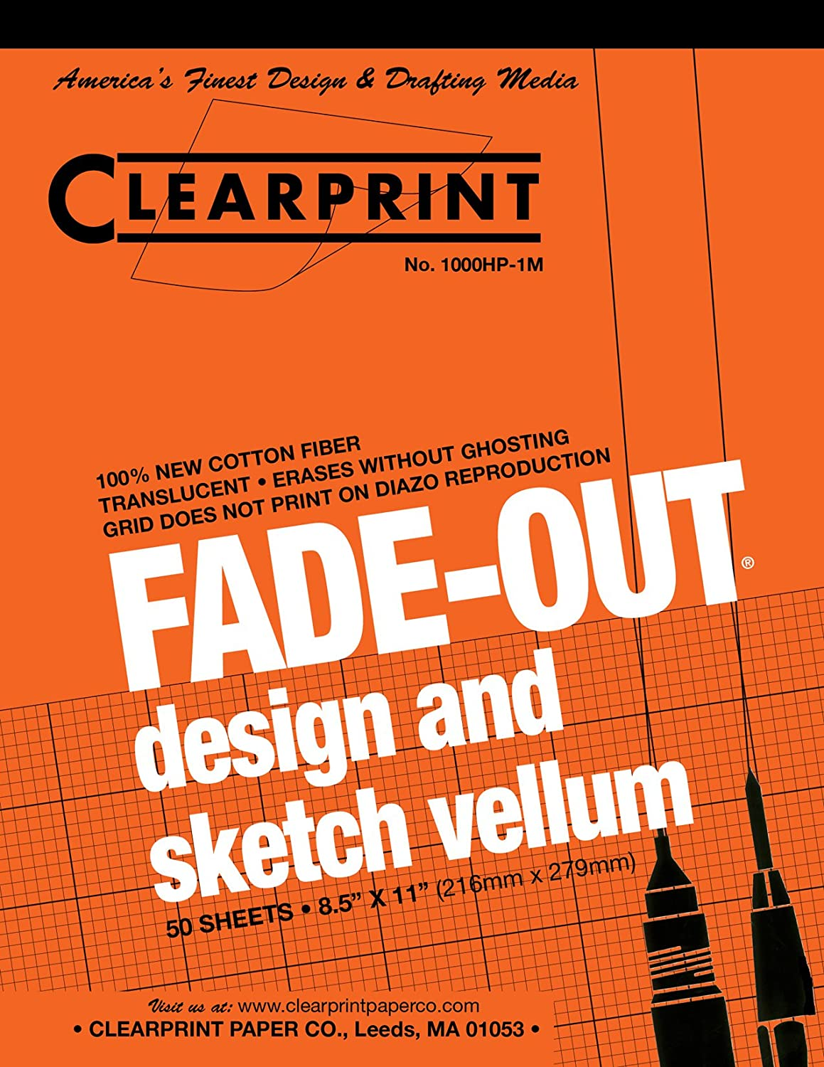 Clearprint 1000H Design Vellum Pad with Printed Fade-Out 5x5 Grid, 16 lb, 100% Cotton, 8-1/2 x 11 Inches, 50 Sheets, Translucent White (10008410) Chartpak Inc.