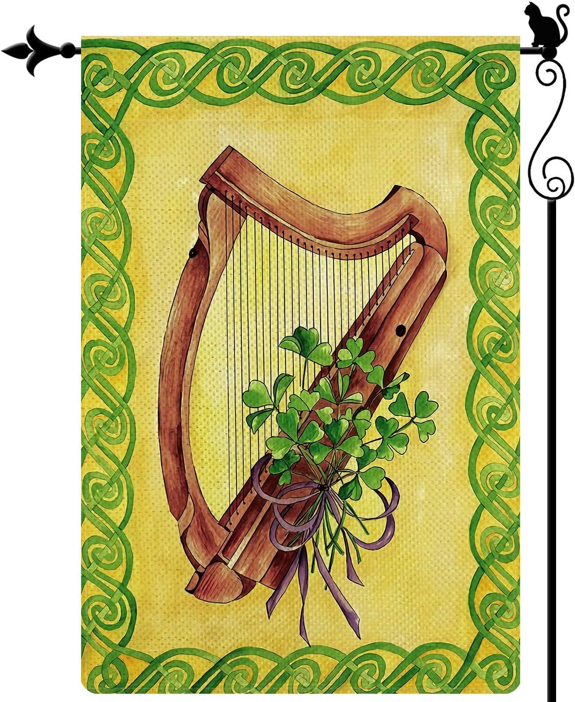 Gormcore Happy St. Patrick's Day Garden Flag Three Clover Lucky Harp Vertical Double Sided Rustic Farmland Burlap Yard Lawn Outdoor Decor 12.5x18