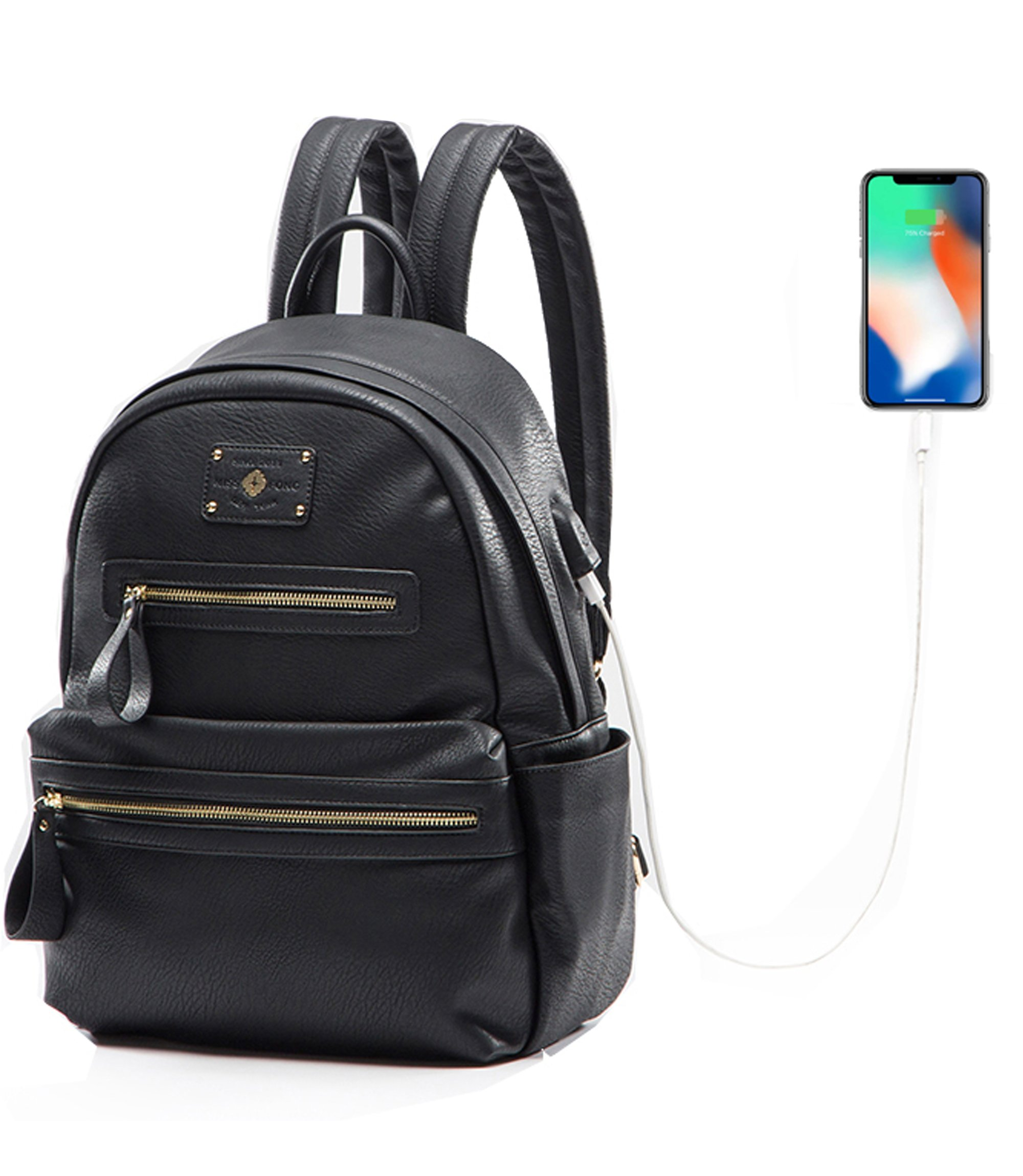 Leather Backpack Women Miss Fong,Womens Backpack School Backpack USB Charger,Fits 13 inch, 14 inch Laptop(Black)