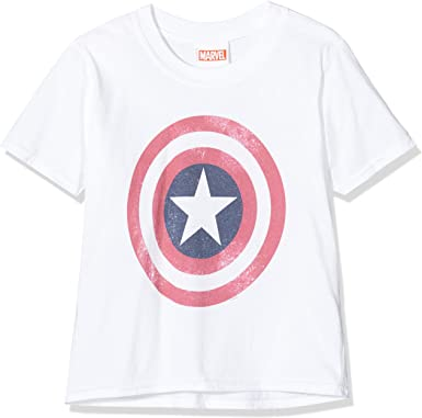 Marvel Avengers Captain America Distressed Shield Camiseta para Ni/ñas