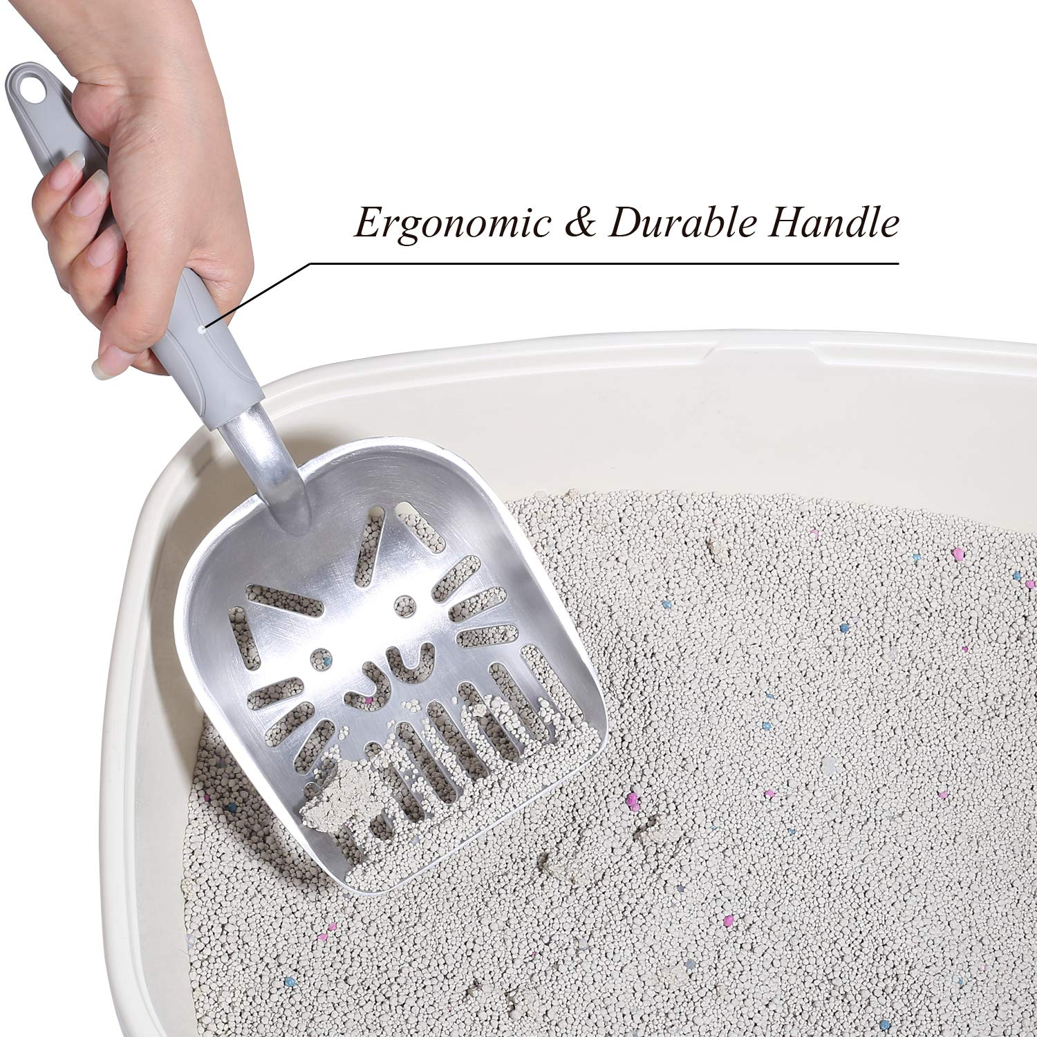 Cat-Shaped Sifter with Deep Shovel and Solid Handle Vivaglory Metal Cat Litter Scoop Jumbo Size