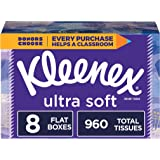 Kleenex Ultra Soft Facial Tissues, 8 Flat Boxes, 120 Tissues per Box (960 Tissues Total)