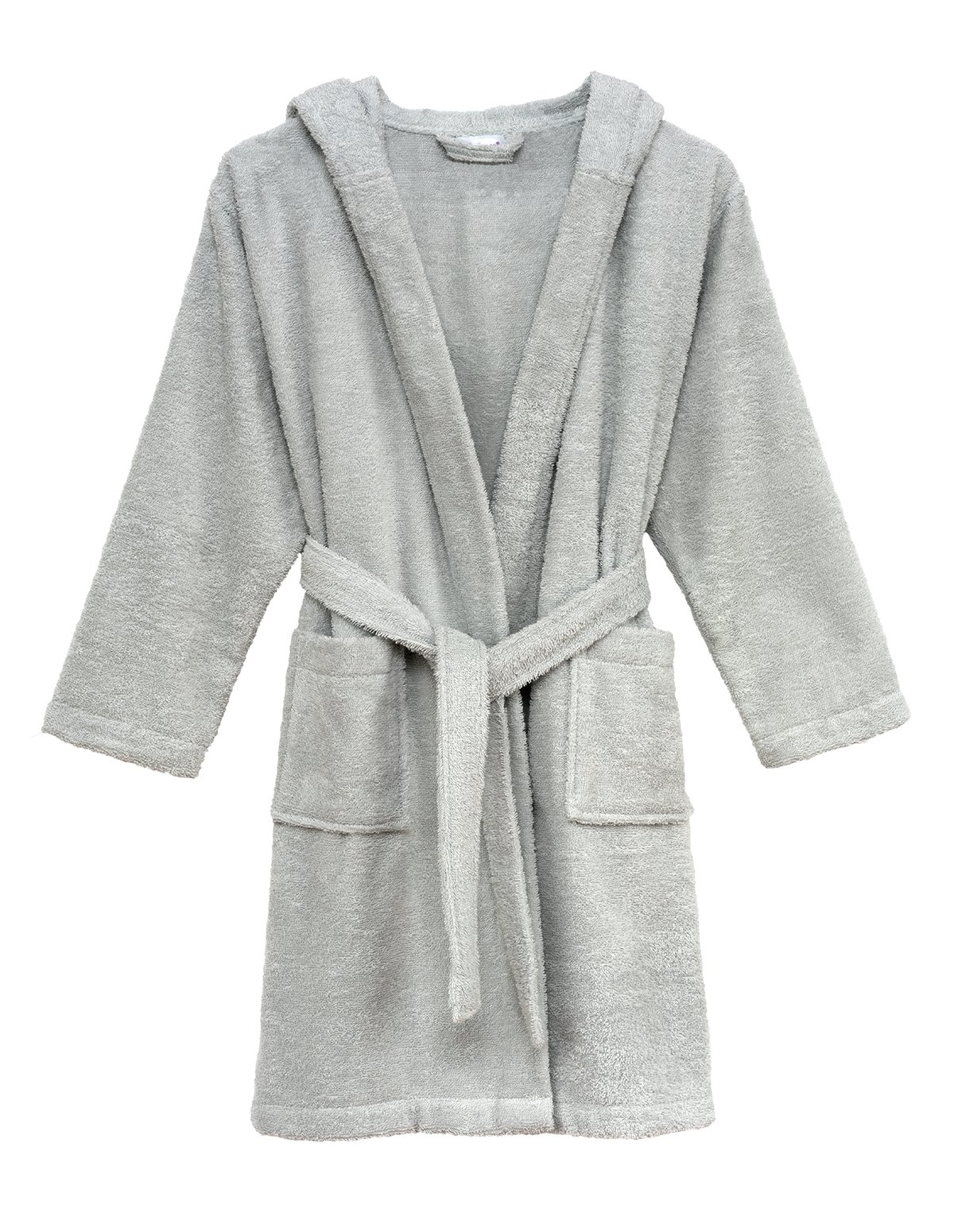 TowelSelections Little Girls' Robe, Kids Hooded Cotton Terry Bathrobe Cover-up Size 4 Glacier Gray