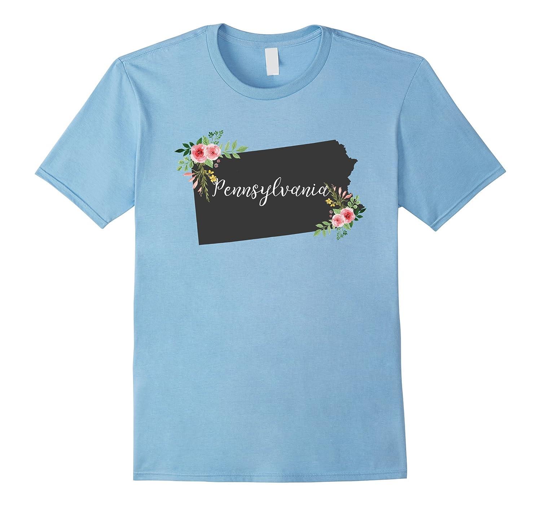 Pennsylvania - Home State Watercolor Flower PA T-Shirt-Art
