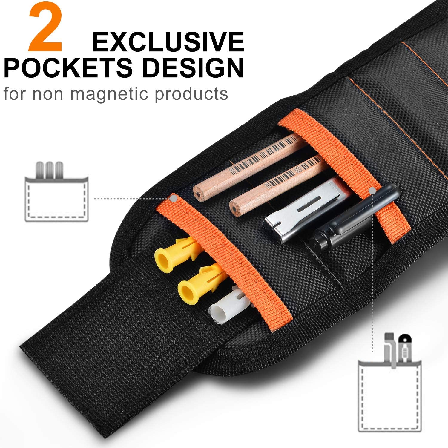 Screws Magnetic Wristband Paick 15 Powerful Magnets Magnetic Tool Wristband Tool Belt for Holding Tools Bolts Nails Drill Bits and Small Tools