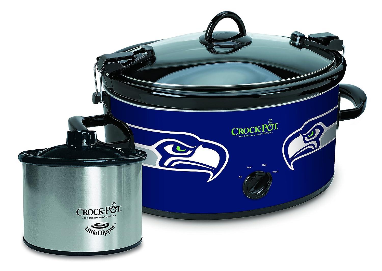 Crock-Pot Seattle Seahawks NFL Cook & Carry Slow Cooker with Bonus 16-ounce Little Dipper Food Warmer