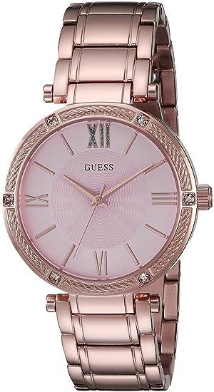 Guess Mujer u0636l2 Femenino Rose Gold-Tone Reloj con Esfera de Color Rosa