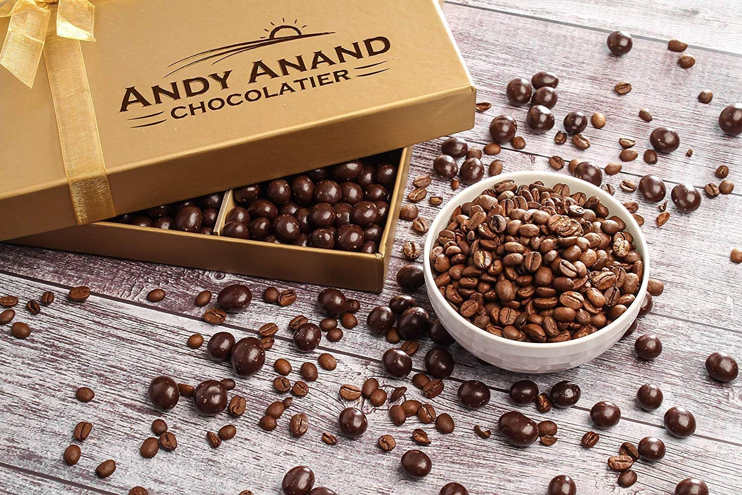 Andy Anand's California Dark Chocolate Covered Espresso Coffee Beans 1 lbs, for Birthday, Valentine Day, Gourmet Christmas Holiday Food Gift Basket, Thanksgiving (1lbs With Teddy Bear) by Andy Anand Chocolates