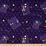 Disney Nightmare Before Christmas Couple Purple Fabric By The Yard
