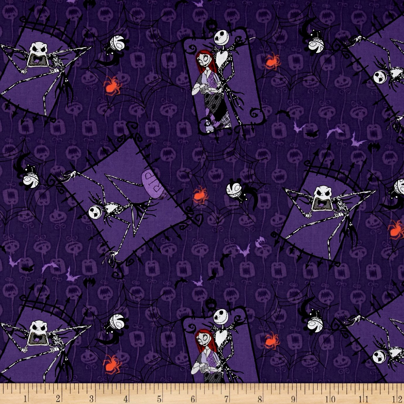 Amazon.com: Disney Nightmare Before Christmas Couple Purple Fabric ...