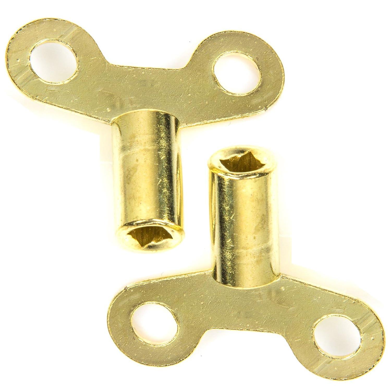 2X Brassed Keys for Bleeding Radiators | 5mm White Hinge