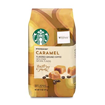 Starbucks Caramel Flavored Medium Roast Ground Coffee, 11-Ounce Bag (Pack of 6)